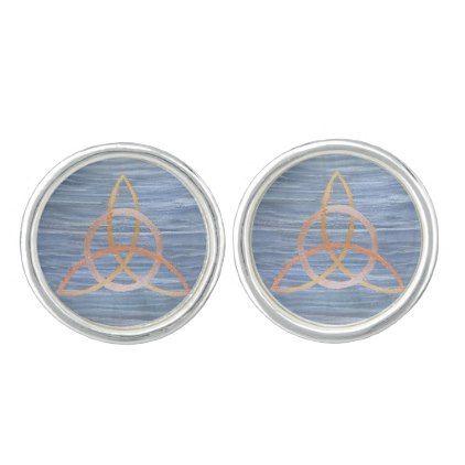 Inquisitive Style | Blue Gold Celtic Trinity Knot Cufflinks - pattern sample design template diy cyo customize