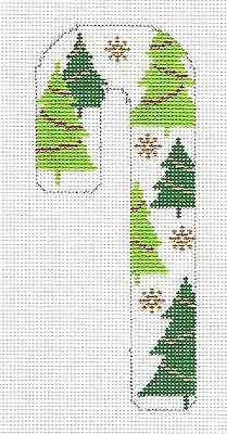 NEW-Trees-Candy-Cane-handpainted-Needlepoint-Ornament-Canvas-by-C-Dupree