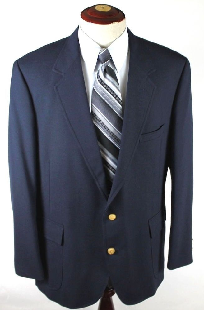 Hardwick Clothes Blazer Sport Coat size 48R Navy Blue Gold Button 2 Btn Wool #HardwickClothes #TwoButton