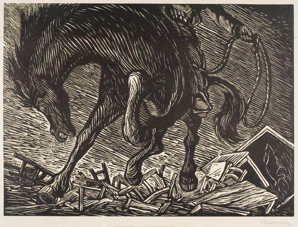 Leopoldo Méndez, El Bruto (The Brute) from the series Rio Escondido (Hidden River), 1948. Linocut, Gift of Margaret S. Travers (Margaret Str...