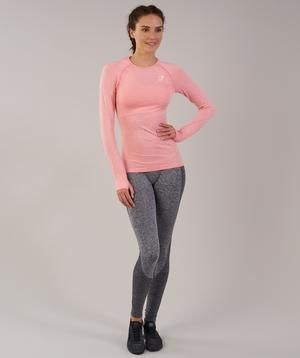 fbd08010bed4f6 Gymshark Vital Seamless Long Sleeve Top - Peach Pink Marl