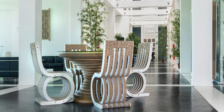 Ecodesign by Lessmore for the MO.OM Hotel Cardboard furniture by Giorgio Caporaso enrich the modern spaces of the Italian MO.OM hotel.