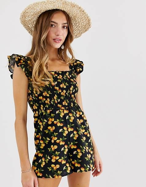 9547385b894 ASOS DESIGN shirred romper with frill sleeve in fruit print