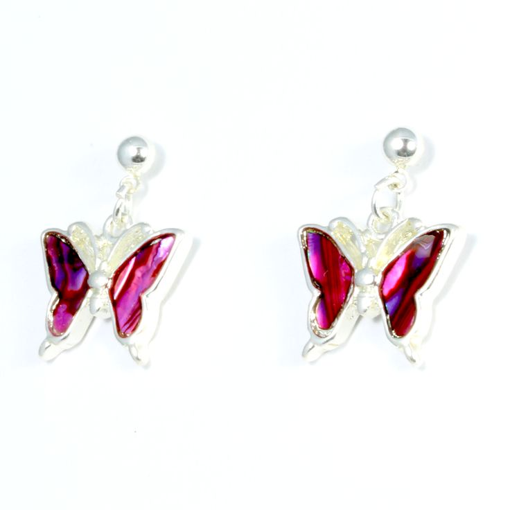 Paua Shell Butterfly Drop Earrings (Various Colours) - Only £6.49