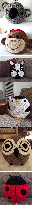 Jessica Knows Crochet: Animal pillows
