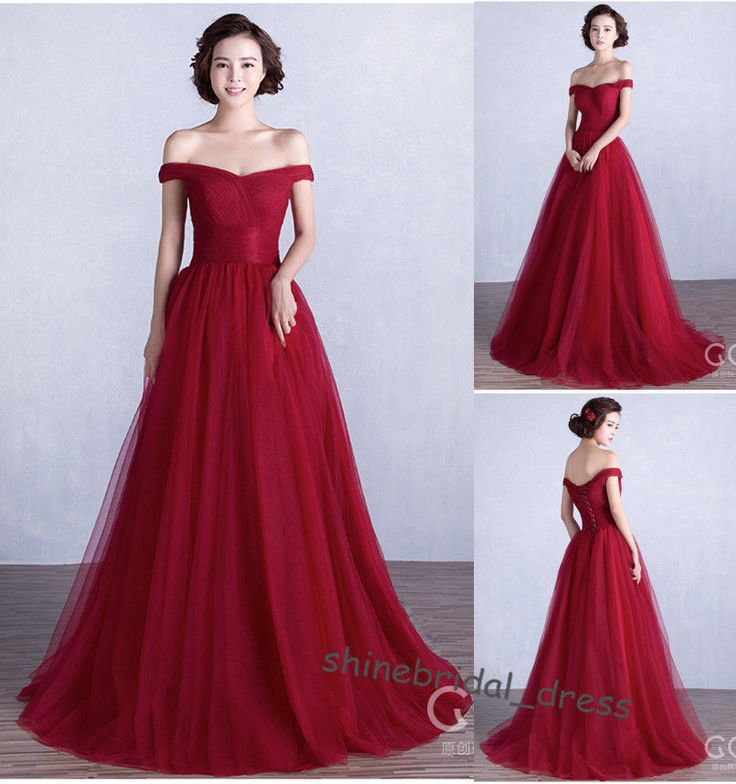 Burgundy Off the Shoulder Prom Party Evening Gown New Bridesmaid Dress Size 4-16