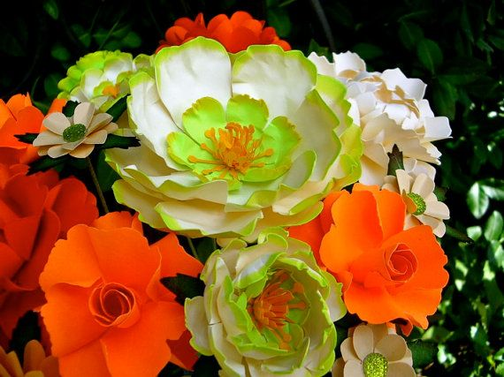 ORANGE   LIME GREEN WEDDING   Table Decoration MIX PAPER Flowers   by  DragonflyExpression  limegreenandorange40 best wedding colors to choose from images on Pinterest  . Orange And Lime Green Wedding Theme. Home Design Ideas