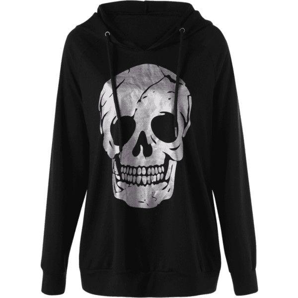 Halloween Plus Size Raglan Sleeve Skull Hoodie ($30) ❤ liked on Polyvore featu... 1