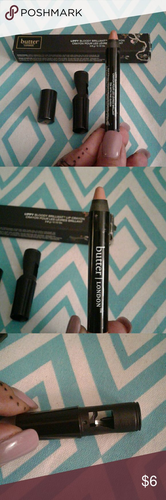butter London lip crayon in Tea With The Queen Butter London Lippy bloody brilliant lip crayon in the color tea with the queen is a nudie color that is long lasting, all in one formula that delivers lacquer-like shine and high fashion color. butter london Makeup Lipstick