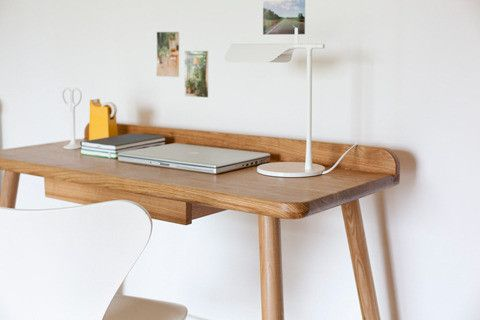 TAB T desk lamp on Oak desk by Another Country Furniture