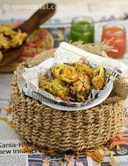 Made without any binding, these unusual grated potato bhajias are best had fresh and hot!