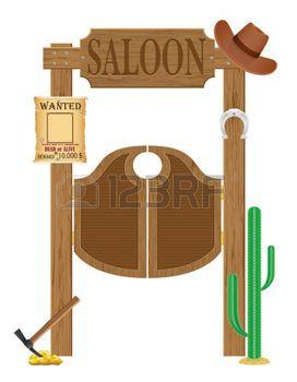 saloon western: portes en Western Saloon ouest sauvage illustration isolé sur fond blanc Banque d
