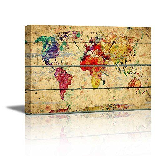 235 best artartart images on pinterest letters canvas art wall26 canvas prints wall art abstract colorful world map on vintage wood background gumiabroncs Choice Image