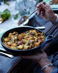 Corn Bread Stuffing w/ Bacon + Greens // More #Thanksgiving Stuffing Recipes: http://www.foodandwine.com/slideshows/thanksgiving-stuffing-recipes-and-dressings #foodandwine
