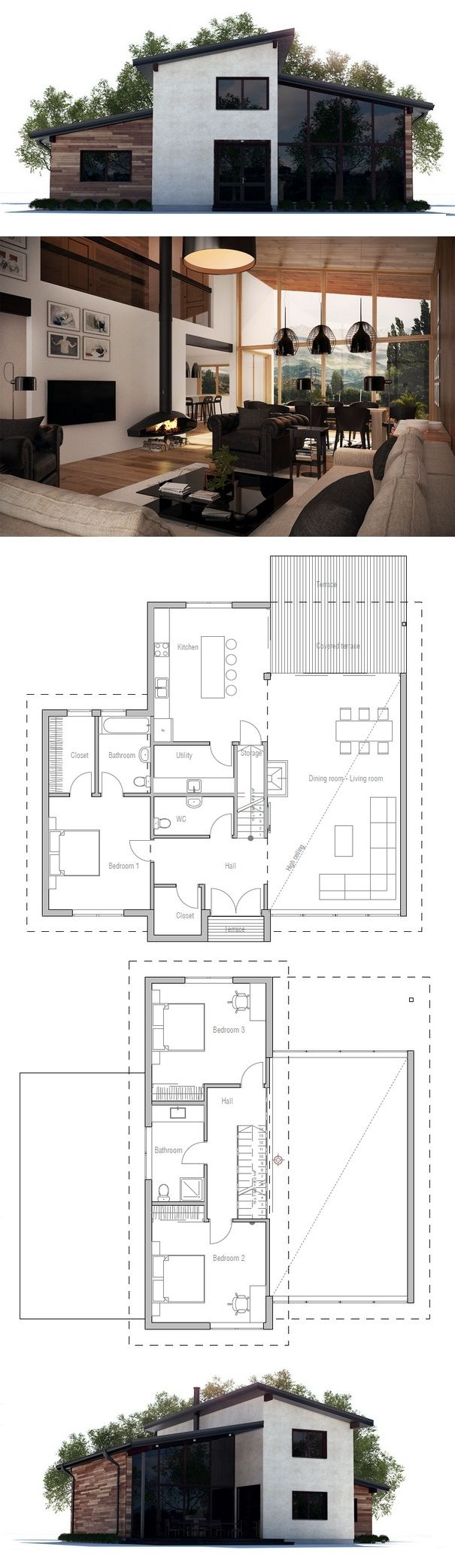 Great elevations and floor plan! I really love that the master is separate from the other bedrooms. Very well done!