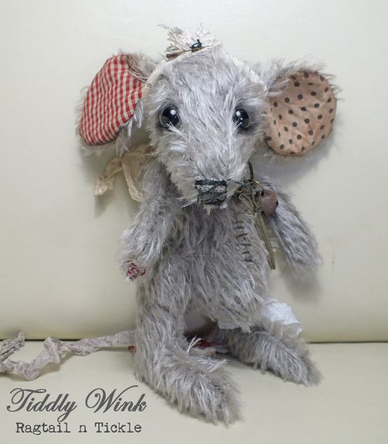 """""""Tiddly Wink"""" the sewing room mouse, with miniature antique scissors and tape measure headband, by Ragtail n Tickle."""