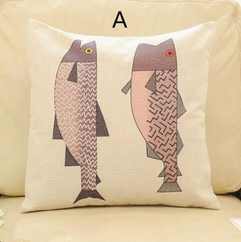 Modern Nordic fish decorative pillows for couch 18 inch