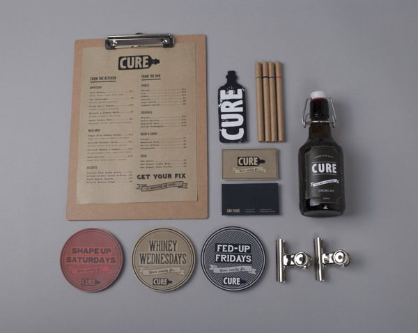 "Bea de Jesus | http://behance.net/beadejesus ""Created branding and identity for a bar called ""Cure"", including logo design, business cards, menu, and various rollouts. The concept of Cure is based on the premise that people go to bars as a..."
