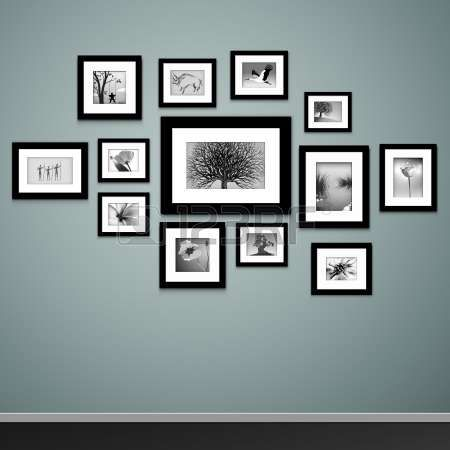 Photo frames on wall Vector vintage picture frames Stock Vector
