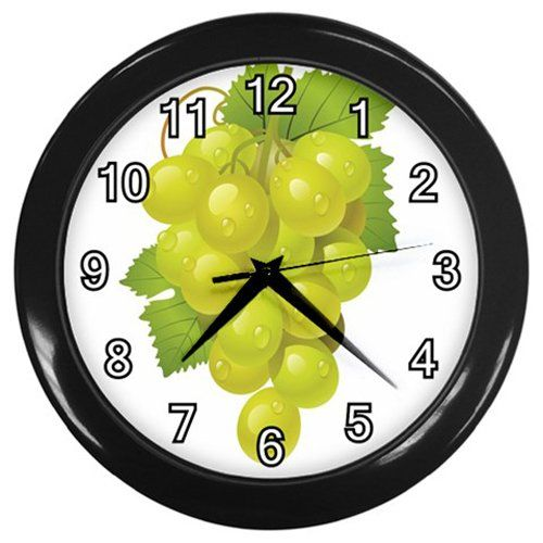 Green+Water+Drop+Grapes+Black+Frame+Kitchen+Wall+Clock