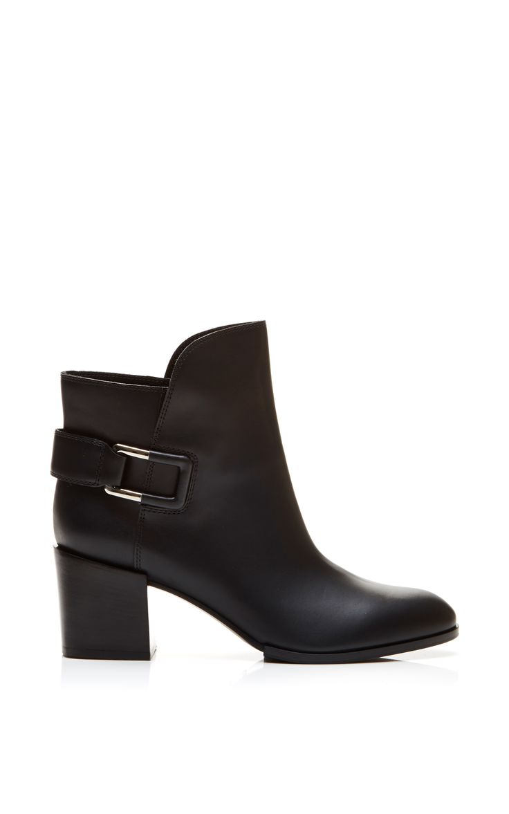 Saddle Leather Ankle Boots by Sergio Rossi - Moda Operandi
