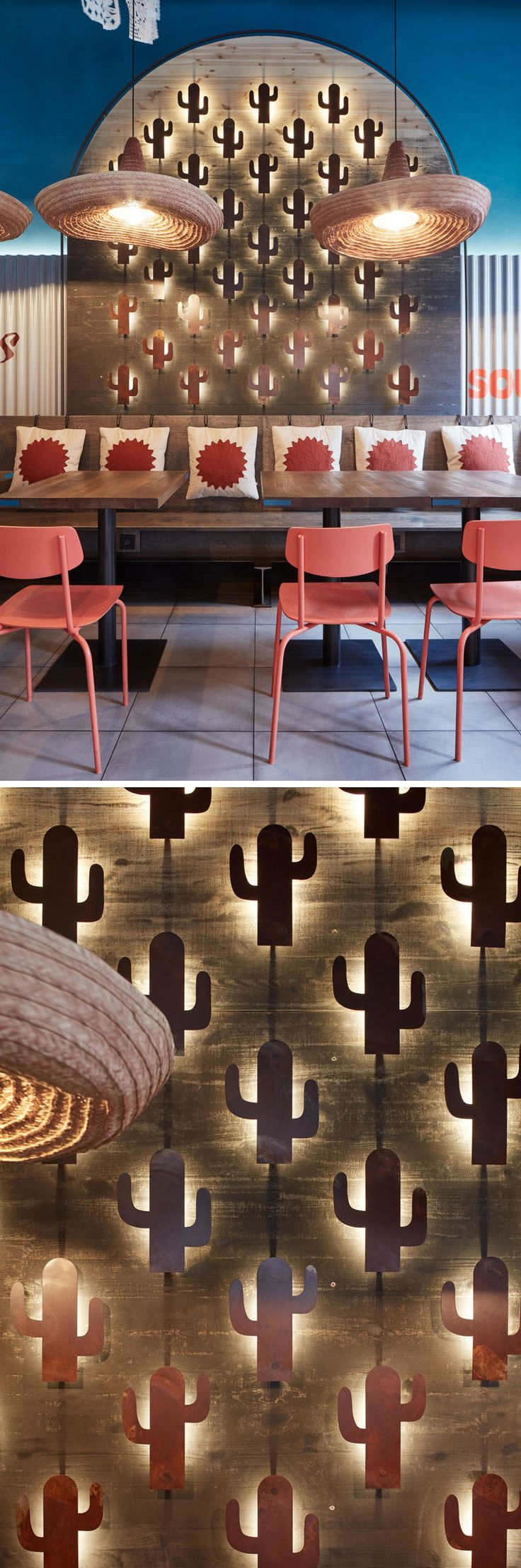 This modern Mexican restaurant features cacti motifs throughtout, like mini cacti on the wall that are backlit. #RestaurantDesign #InteriorDesign #Cacti