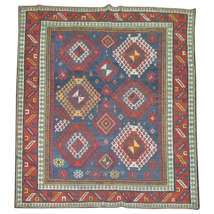 Antique Caucasian Kazak Rug | From a unique collection of antique and modern caucasian rugs at http://www.1stdibs.com/furniture/rugs-carpets/caucasian-rugs/
