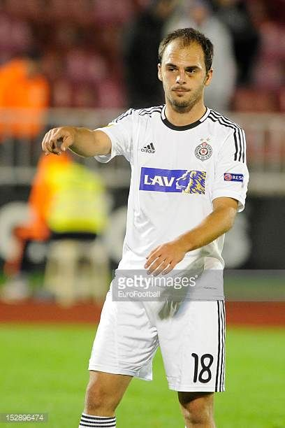 Aleksandar Lazevski of FK Partizan in action during the UEFA Europa League group stage match between FK Partizan and Neftci PFK on September 20 2012...