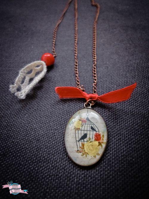 DIY : sautoir avec une médaille cage à oiseau romantique et vintage #diy #oiseau #cage #doityourself #tutos #bijoux #sautoir #collier #neckless