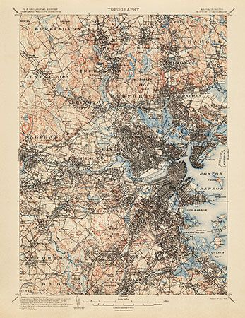 Usgs Topographic Map Of Boston 1903