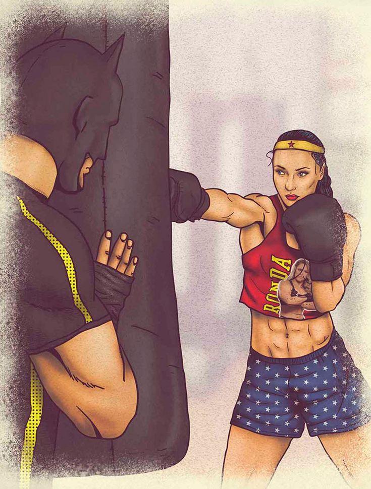 Ilustraciones que revelan el estilo de vida saludable de Batman, Superman y la Mujer Maravilla