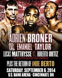 "Here are the weigh in results for the upcoming Showtime Boxing card featuring Adrien ""The Problem"" Broner, Lucas ""The Machine"" Matthysse, and Andre ""The Beast"" Berto!! http://www.potshotboxing.com/?p=3487"