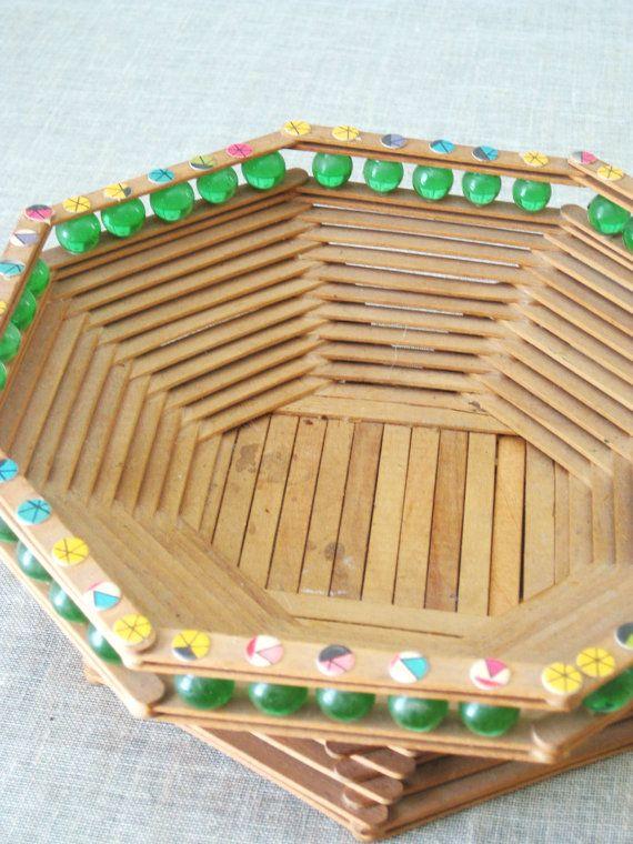 Arte Vintage Popsicle Stick cesta cuenco vagabundo arte