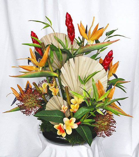 Fl Wreaths And Swags Tropical Silk Flower Arrangement In Bamboo