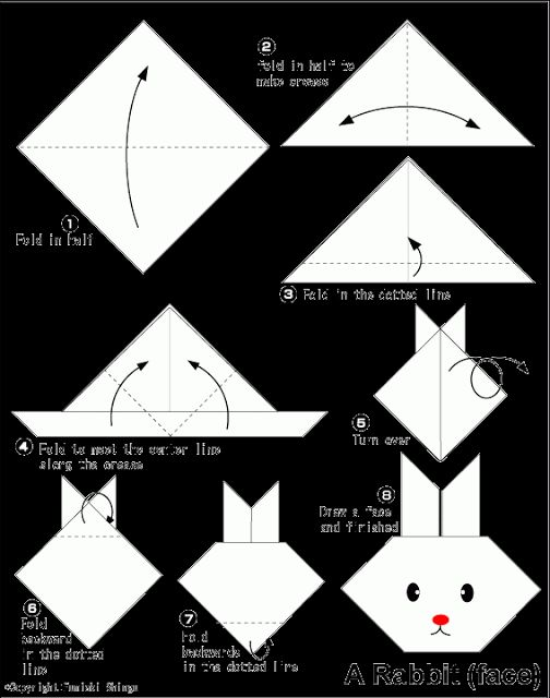 Rabbit(face) - Easy Origami instructions For Kids