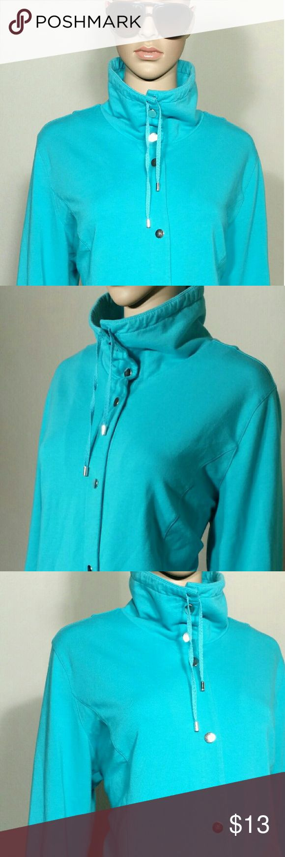Karen Scott Sports Light Blue Full Snaps Jacket **LAST PIECE** Size XL EXTRA LARGE 97% Cotton 3% Spandex In very good condition!! Very adorable!! A great gift!! Fast shipping!! Karen Scott Jackets & Coats