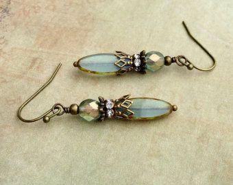 Aqua Earrings, Blue Earrings, Victorian Earrings, Bronze Earrings,Czech Glass Beads, Antique Gold Earrings, Bridal Earrings, Womens Earrings
