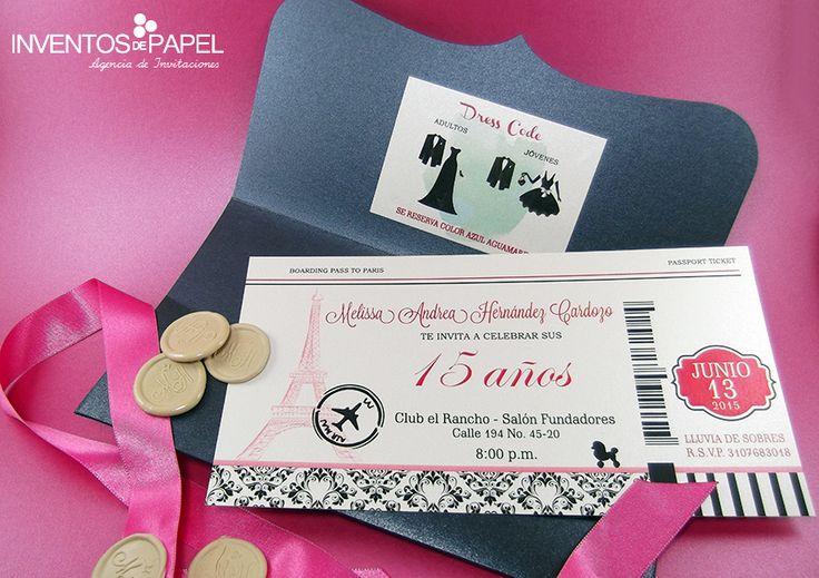 Tarjeta de invitación de 15 años París