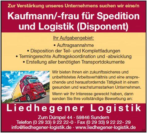 Kauffrau / Kaufmann für Spedition und Logistik (Disponent)