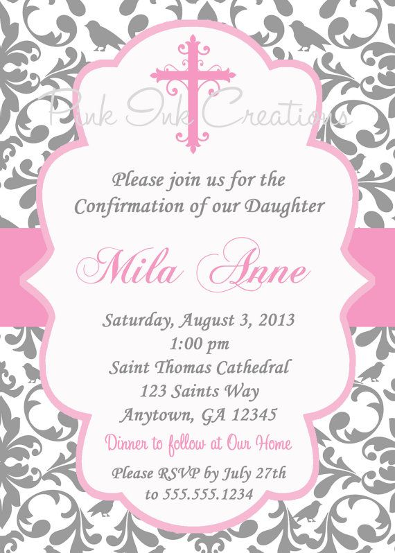 GIRLS Baptism Invitation - Damask, Baby Dedication, First Communion, Confirmation, Christening - Any Color -  PRINTABLE -  YOU Print on Etsy, $13.50