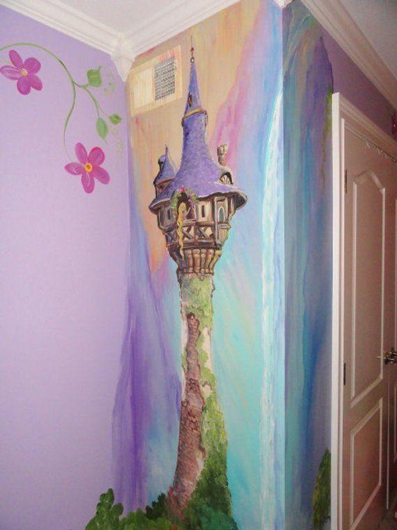 Esimate for Rapunzel room, Rapunzels tower, Princess room, custom kids wall art, Castle murals, MURA