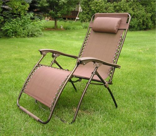 Delux Extra Wide Zero Gravity Lawn Chair Brown Patio Recliner