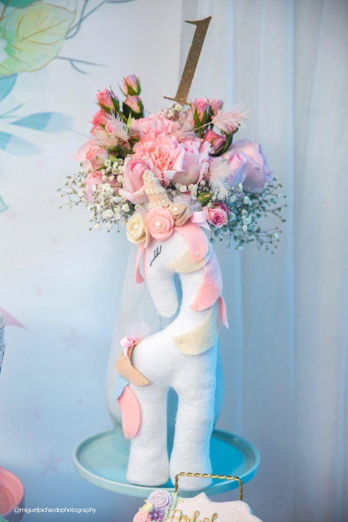 Plush unicorn & blooms from a Baby Unicorn 1st Birthday Party on Kara's Party Ideas   KarasPartyIdeas.com (33)