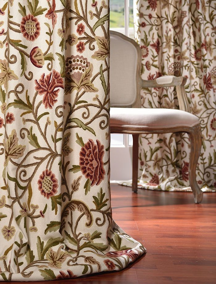 16 Best Crewel Embroidered Curtains Images On Pinterest Cotton Curtains Curtains Drapes And