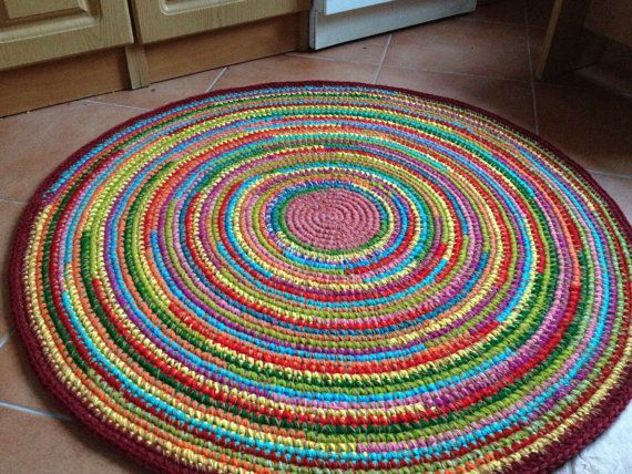 fun colorful crochet round rug made to order. Black Bedroom Furniture Sets. Home Design Ideas