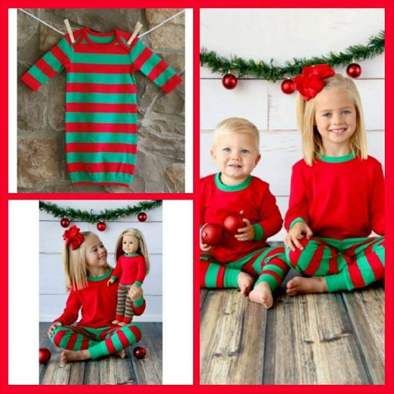 Matching PJs for the whole family in Red and Green stripes. Theres even a size for your favorite 18 doll. These pajamas do run true to