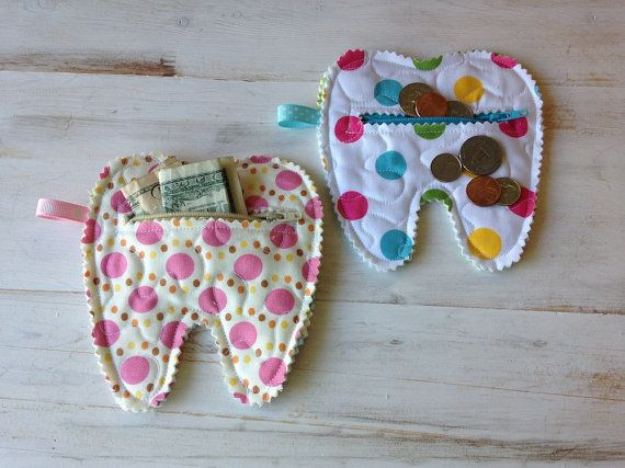2 Quilted Tooth Fairy Zipper Pouches coin purse by CurbysCloset, $10.00