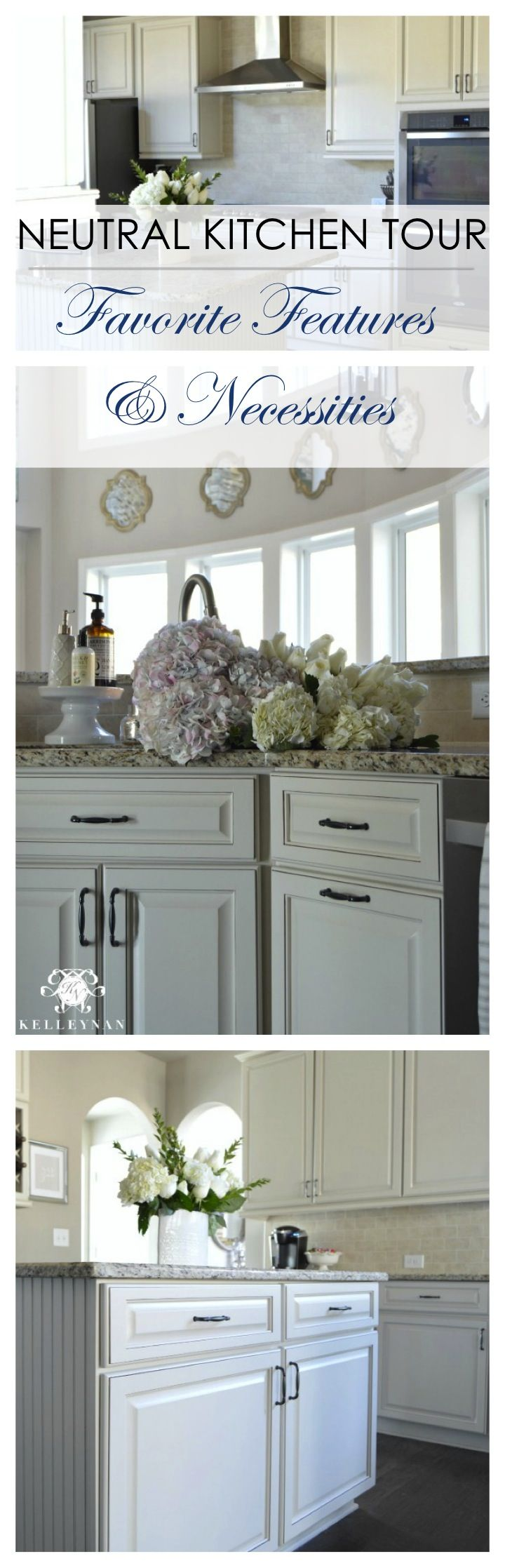 White and Neutral Kitchen Cabinets with dark hardwood floors, pewter knob pulls, and stainless steel appliances. Bead board kitchen island with granite countertops. Nottaway Hickory Weathered Saddle   Sherwin Williams SW Perfect Greige Paint   Puebla Travertina Beige Tile Backsplash   Giallo Ornamental Granite Countertop   butler's pantry   latnern lights in kitchen