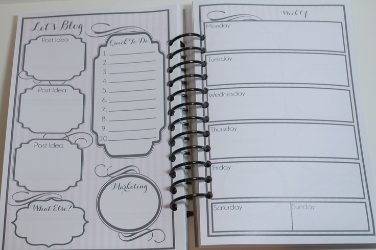super cute free blog planner and weekly planner, half page
