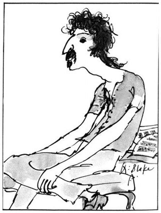 """Frank Zappa by Quentin Blake for Punch, 1972. """"The drawing got published with an interview, """"Passing Through. Frank Zappa talks to David Taylor"""", in Punch magazine, 1972.09.27"""""""